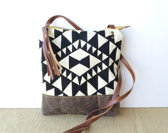 weekdayer - large • crossbody bag - geometric print • black and white geometric print - screenprint - iPad bag - gifts under 50 • vukani