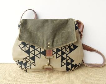 satchel • waxed canvas crossbody bag - geometric print • hand printed khaki canvas - triangle print - olive green waxed canvas • vukani