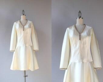 1960s Dress / Vintage 60s White Satin Rhinestone Trimmed Dress / Mod Sixties Wedding Dress