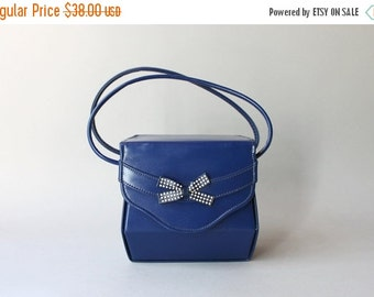 STOREWIDE SALE 1940s Purse / Vintage 40s Royal Blue Bow Bag / 1950s Box Bag