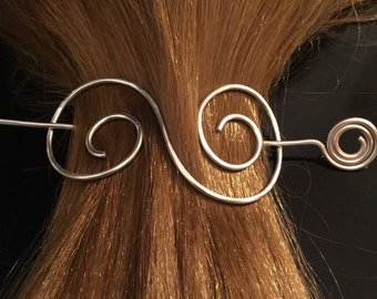 Hair pin scarf pin shawl pin wire wrapped hammered silver plated