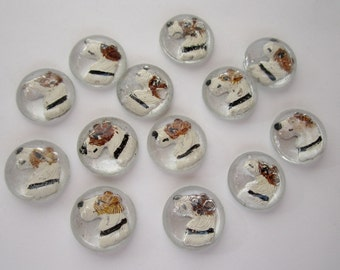 13 pcs. vintage glass reverse painted intaglio fox terrier 13mm cabochons destash lot