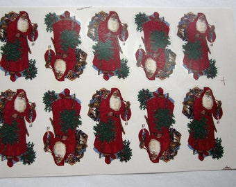 Vintage ceramic decals decal sheet Victorian Santa Claus St Nick by Olympic Enterprises