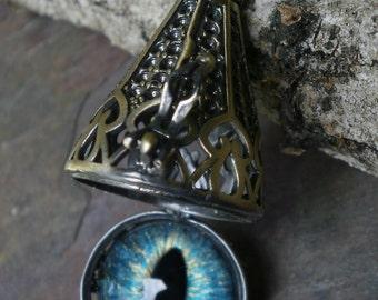 Gothic Steampunk Hidden Secret Eye Pendant Aqua Turquoise
