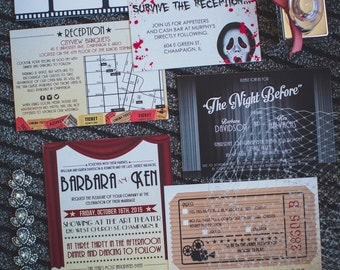 Barbara /// Modern Movie-Themed Wedding Invitation Set  /// Deposit