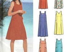 2002 Pullover Dress Pattern Jumper Easy Simplicity Sewing Uncut Women's Misses Size XS - M Bust 30. 5 - 38 Inches