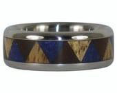 Blue Lapis Tribal Wood Ring