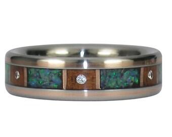 Six Diamonds Titanium Ring