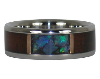 Black Opal and Hawaiian Milo Wood Ring Band