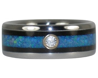 Blue Opal Black Wood Diamond Ring