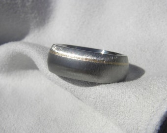 Ring, Wedding Band, Clearance Titanium with Yellow Gold Pinstripe 7mm size 6