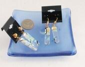Dichroic glass earrings - clear rainbow earring - Pierced or Clip-on earrings - dichroic glass jewelry  (4272-4273)
