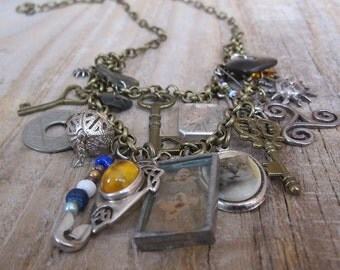 Curio Charm Necklace - Bronze Upcycled Bohemian Jewellery OOAK unique