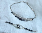 Stunning  vintage 1950s Jet Black Stone and rhinestone Necklace Bracelet Set-Bridal-Wedding-Prom-Gift