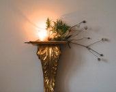 Vintage Florentine Gold Leaf Wood Shelf, Ornate Wall Sconce, Holiday Decor, Christmas, Home & Living, Hollywood Regency