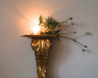 Vintage Florentine Gold Leaf Wood Shelf, Ornate Wall Sconce, Holiday Decor, Christmas, Home & Living, Hollywood Regency