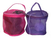 SALE!  2 Yarn Storage Bags / Yarn Cases: Fuchsia and Purple, Round mesh Baskets for Knitting Yarn for On-the-go-knitter - small for one ball