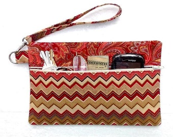 Phone Wristlet, Zig Zag Print Clutch, Paisley Wallet, Front Zippered Purse, Maroon Makeup or Gadget Bag, Phone or Camera Holder