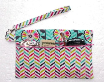 Pink White Striped Wristlet, Turquoise Floral Clutch, Front Zippered Makeup or Phone Bag, Small Purse, Zippered Wallet, Camera or Gadget Bag