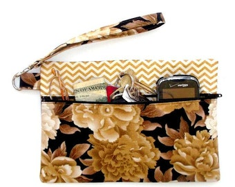 Brown Floral Wristlet, Gold Chevron Clutch, Small Purse, Makeup or Phone Holder, Front Zip Camera or Gadget Bag, Floral Womens Wallet