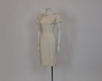 Vintage 50's 60's Estevez Silk Wiggle Dress Stunning Back