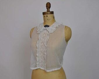 1920s top / Lovely Lace Boardwalk Empire Vintage 20's Net Ruffle Blouse