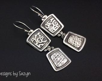 Earrings, silver, tribal, artisan, handmade, Smaller Dangle earrings