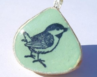 Little blue bird pendant, sterling silver and tile