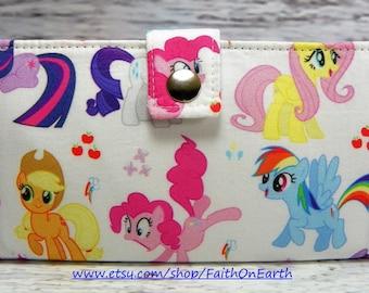 SALE - Little pony Handmade Long fandom geek Wallet - BiFold Clutch - Vegan Wallet -  MLP Wallet or half size unisex wallet