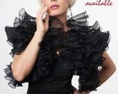 Promo Sale Evening bolero jacket with dramatic flounces/ Silk organza 13 colors/ Sizes XS - L