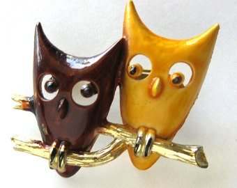 Vintage Enamel OWL Brooch Pin / 1960s Vintage Jewelry / Brown and Gold Owls Perched on a Branch / Modernist Jewelry