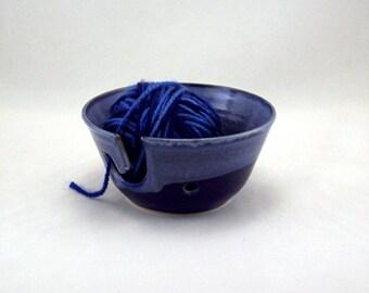 Stoneware Blue Yarn Bowl