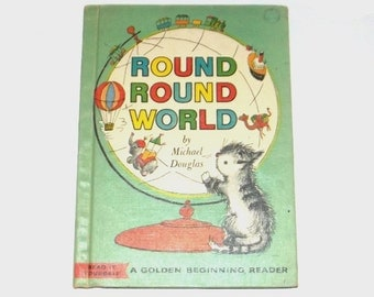 1960s children's book / 60s vintage book / cat / Round Round World Children's Storybook