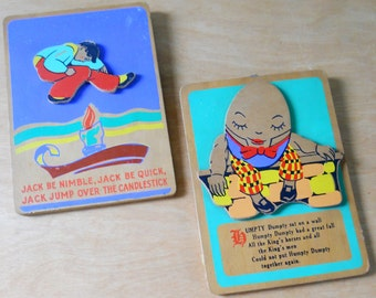 Vintage Nursery Rhyme Plaques • Pair of Vintage Nursery Wood Plaques • Jack Be Nimble Humpty Dumpty