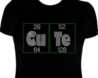 CuTe Periodic Table of Elements Chemistry Chemist Rhinestone T-Shirt