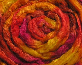 100g Space-dyed  Baby Camel Down/Tussah Silk Top 50/50 - Red Hot Chilli Pepper