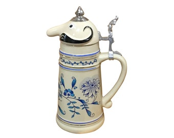 1960s Mustache Man Beer Stein, Father Day Gift, Vintage German Home Decor
