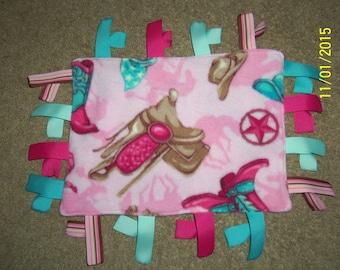 Homemade Fleece Girl Western ribbon blanket
