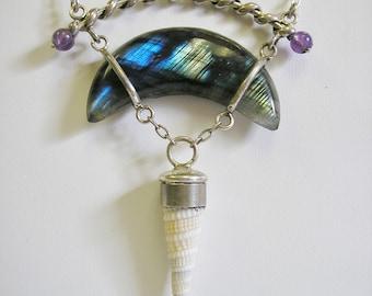 Labradorite & Amethyst Necklace, Sterling Silver, Adjustable Length, Blue Crescent Moon, Sea Shell,