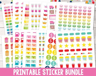 Printable Planner Sticker Bundle, Instant Download Printable Stickers PDF Files, Set of 25 Functional Stickers