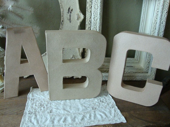 large paper mache letters abc wall decor for baby room crafts. Black Bedroom Furniture Sets. Home Design Ideas