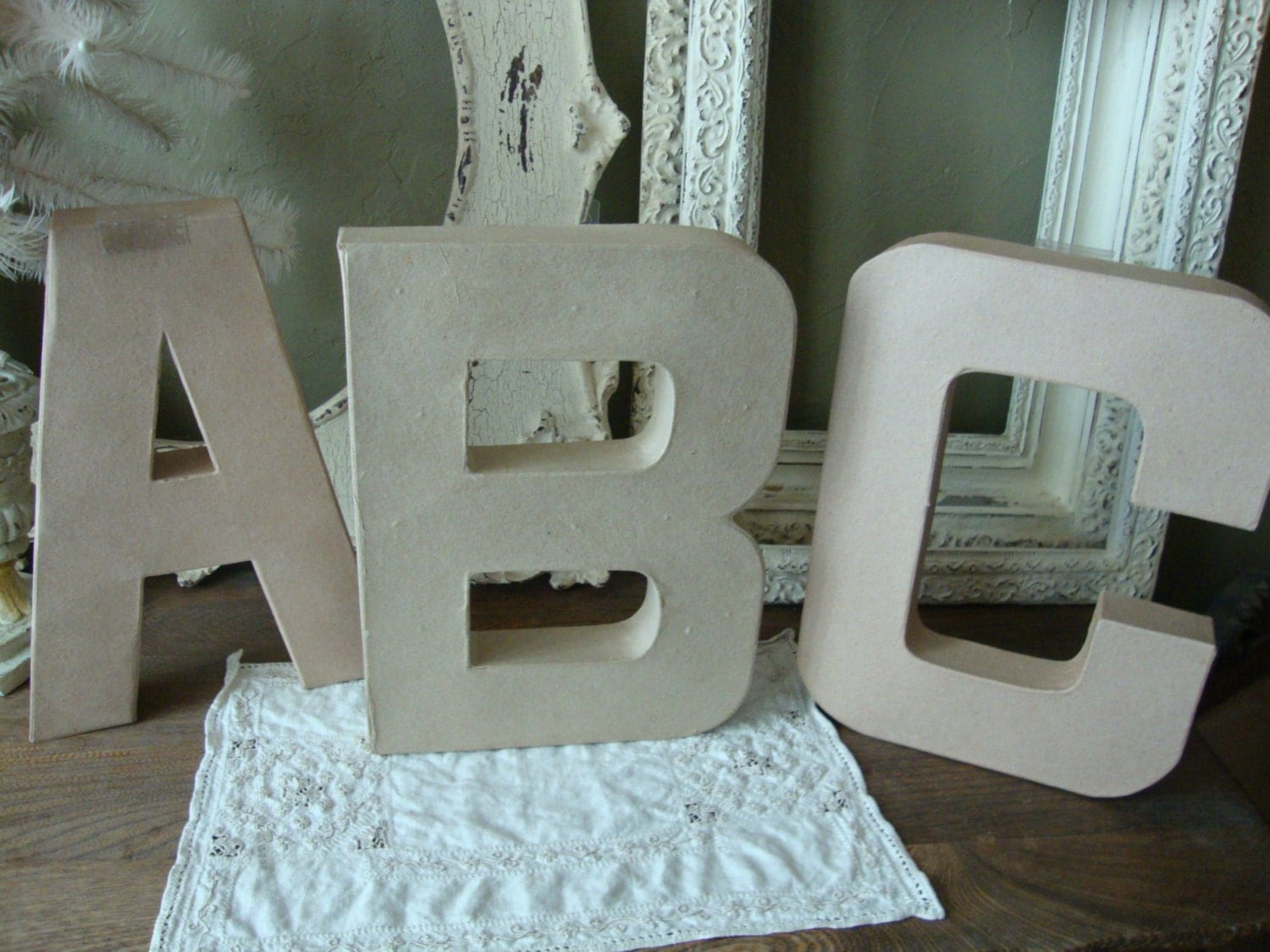 Large Paper mache letters ABC wall decor DIY crafts supplies