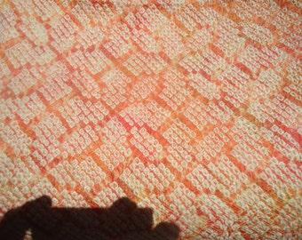 Shibori Kimono Silk Peach/Yellow Geometric