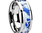 Mens or Womens Tungsten Wedding Band w Arctic Camo, Statement Wedding Band for Him or Her