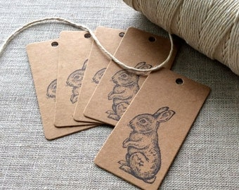 20 Mini Rabbit Gift Tags, Small bunny gift tags, easter favors, gift tags, Easter gift tags, rustic gift tags