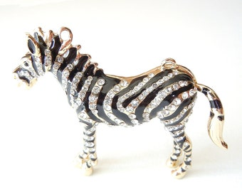 Large Doublelink Zebra Pendant Dimensional Rhinestone and Enamel Stripes Gold-tone
