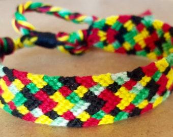 Rasta Hand-Knotted Bracelet, bright woven bracelet, friendship bracelet, teen jewelry, high school gift, unisex jewelry, adjustable bracelet