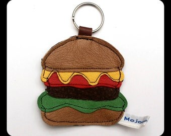 Burger recycled leather keychain.... WORLDWIDE FREE SHIPPING
