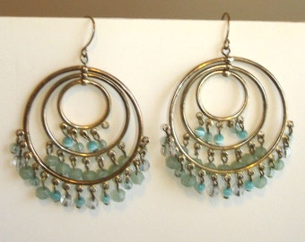 vintage silver hoop pierced earrings with pale blue and clear beads