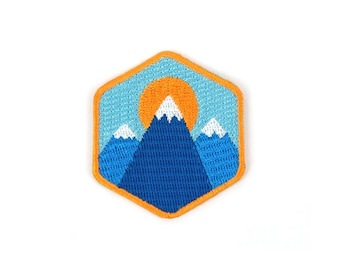 Three Mountains Iron On Patch - Embroidered Patch - Woven Patch - Mokuyobi Threads - Patches for Jeans - Cute Patches - Patches for Jackets